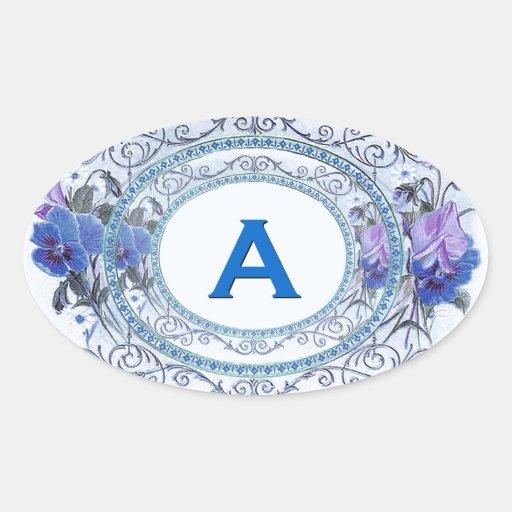 Vintage Pansies Floral Monogram Wedding V19 Oval Stickers