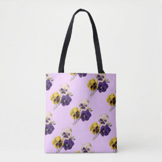 Vintage Pansies Pale Lavender Tote Bag