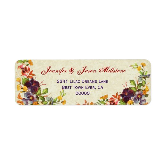 Vintage Pansies Wedding Label