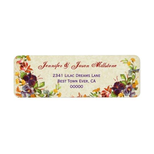 Vintage Pansies Wedding Label Return Address Label