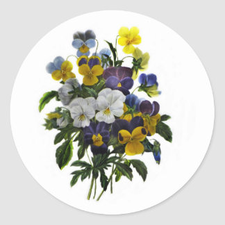 Vintage Pansy Botanical Print Classic Round Sticker