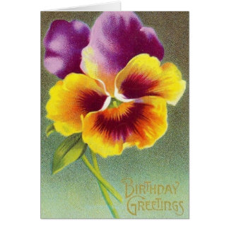 Vintage Pansy Floral Birthday Greeting Card