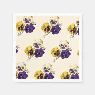 Vintage Pansy Flower Table Napkins Disposable Serviettes