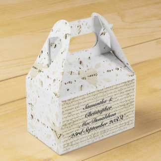 Vintage paper and white lace heart country wedding favour box