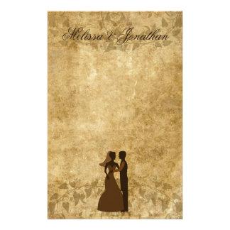 Vintage paper Bride Groom Wedding Once upon a time Customised Stationery