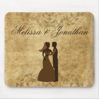 Vintage paper Bride Groom Wedding Once upon a time Mouse Pad