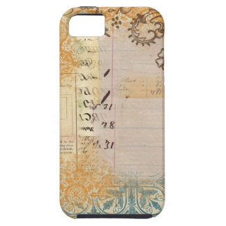 vintage paper collage stamped blue dots iPhone 5/5S case