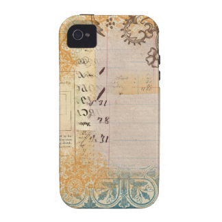 vintage paper collage stamped blue dots Case-Mate iPhone 4 cover