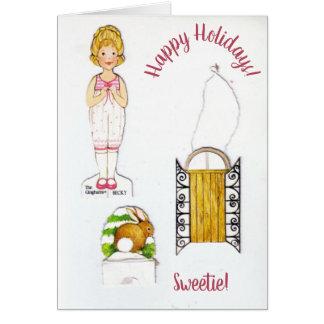 Vintage Paper Dolls Winter Holiday Card Custom