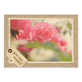 Vintage Paper Frame Burlap Pink Rose Travel Tag 13 Cm X 18 Cm Invitation Card