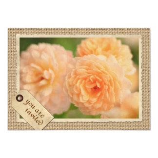 Vintage Paper Frame Travel Tag Peach Rose Burlap 13 Cm X 18 Cm Invitation Card