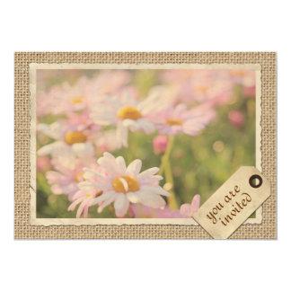Vintage Paper Frame Travel Tag Pink Daisies Burlap 13 Cm X 18 Cm Invitation Card