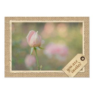 Vintage Paper Frame Travel Tag Pink Rose Burlap 13 Cm X 18 Cm Invitation Card