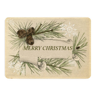 """Vintage Paper,  Holiday Christmas Card Pine Cones 5"""" X 7"""" Invitation Card"""