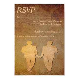 Vintage Paper Overlay Gay Wedding RSVP Card