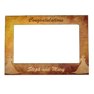 Vintage Paper Overlay Lesbian Wedding Gift Frame Photo Frame Magnet