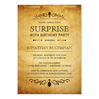Vintage Paper | Surprise Birthday Party Typography Card