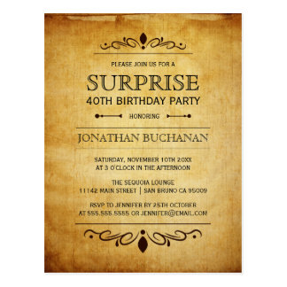 Vintage Paper | Surprise Birthday Party Typography Postcard