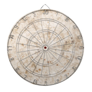 Vintage paper texture bugged dartboard with darts