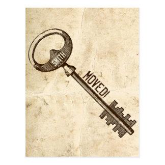 Vintage Parchment Antique Key Change of Address Postcard