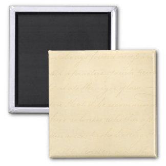 Vintage Parchment Antique Text Template Blank Square Magnet