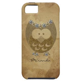 Vintage Parchment Faux Bling Owl Personalized Tough iPhone 5 Case