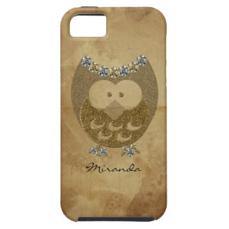 Vintage Parchment Faux Bling Owl Personalized Tough iPhone 5 Case