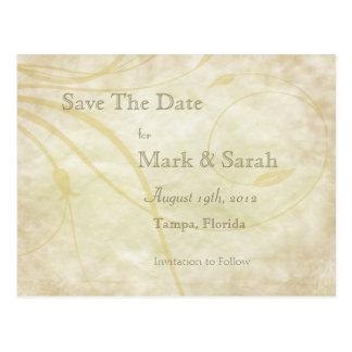 Vintage Parchment Leafy Flourish Save The Date Postcard
