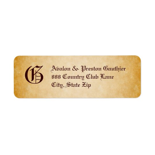 Vintage Parchment Monogram Halloween Address Label