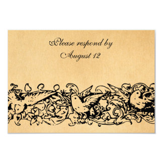 Vintage Parchment RSVP with envelopes Card