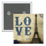 Vintage Paris 15 Cm Square Badge