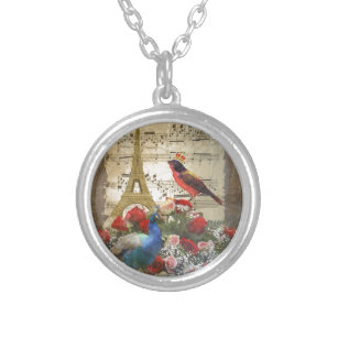 Vintage Paris & birds music sheet collage Silver Plated Necklace