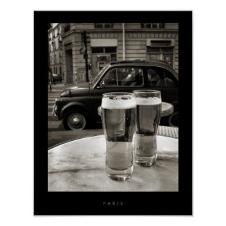 Vintage Paris Bistro Black and White Photography Poster