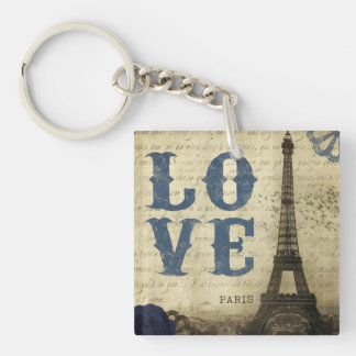 Vintage Paris | Blue Double-Sided Square Acrylic Keychain