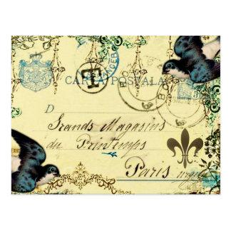 Vintage Paris Bluebird Postcard