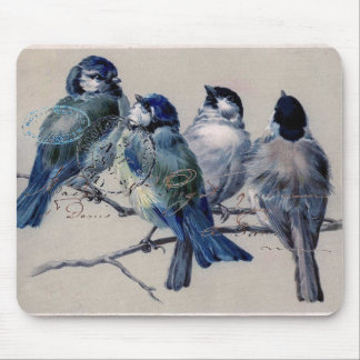 Vintage Paris Bluebirds Mouse Pad