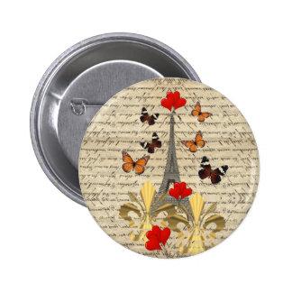 Vintage Paris & butterflies 6 Cm Round Badge