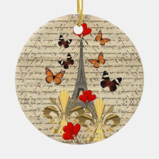 Vintage Paris & butterflies Christmas Tree Ornament