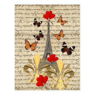Vintage Paris & butterflies Postcard