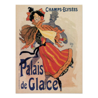 Vintage Paris Champs Elysées ice skating Poster