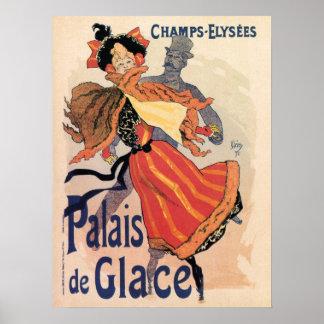 Vintage Paris Champs Elysées ice skating Posters
