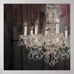 vintage paris chandelier barnwood poster