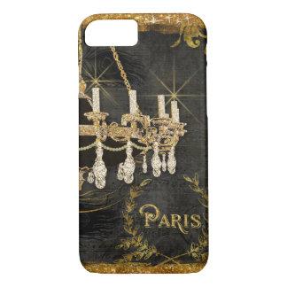 Vintage Paris Chandelier Gold Black Chalkboard Art iPhone 8/7 Case