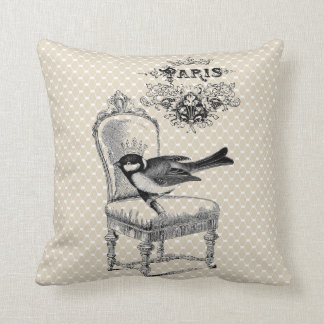 Vintage Paris Chic bird and French chair pillow Throw Cushions
