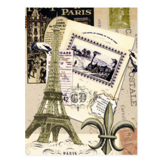 Vintage Paris Collage...postcard Postcard