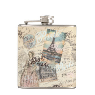 Vintage Paris decoupage Landmarks typography Hip Flask