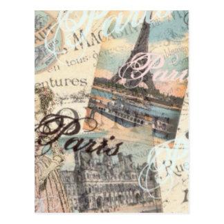 Vintage Paris decoupage Landmarks typography Postcard