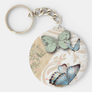 Vintage Paris Effiel Tower Butterfly Fashion Basic Round Button Key Ring