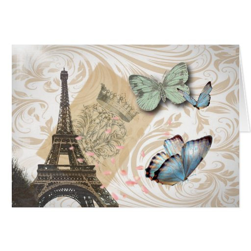 Vintage Paris Effiel Tower Butterfly Fashion Greeting Cards