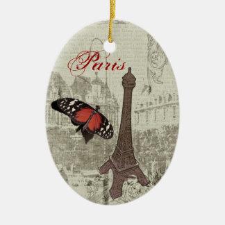 Vintage Paris, Eiffel tower Ceramic Oval Decoration